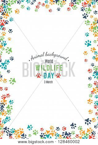 illustration of world wildlife day. Animal background. 3 March, the day of the adoption of the Convention on International Trade in Endangered Species of Wild Fauna and Flora.