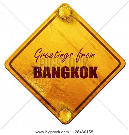 Greetings from bangkok, 3D rendering, isolated grunge yellow roa
