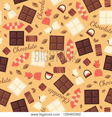 Seamless pattern with chocolate sweets isolated on beige background. White, black, milk chocolate bars and candies of different types. Yummy delicious sweets. Cacao products. design.