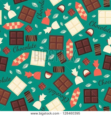Seamless pattern with chocolate sweets isolated on green background. White, milk and black chocolate bars and candies. Tasty gourmet items. Can be used for wallpaper and wrapping paper.