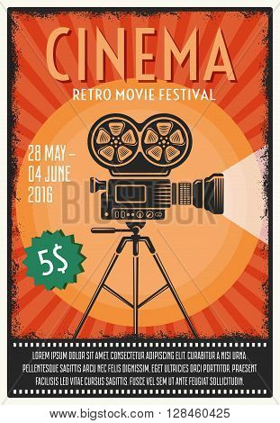 Retro movie festival poster with film projector on tripod in center on orange background vector illustration