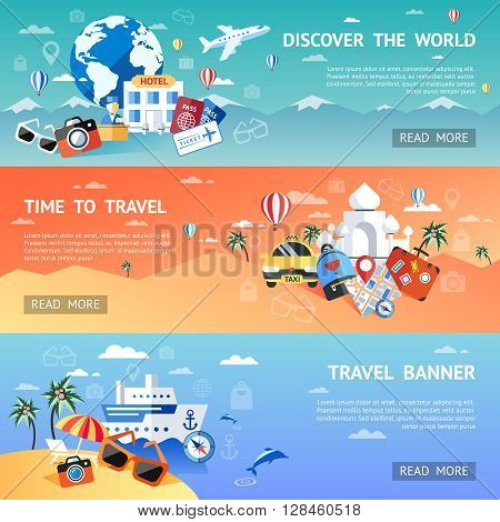 Travel Flat colored horizontal banner set with slogans of discover the world time to travel and travel banner vector illustration