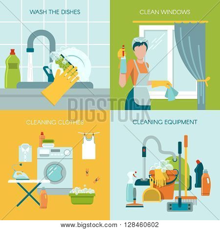 Colored icon set with different cleaning equipment and activity like washing the dishes cleaning the windows and clothes vector illustration