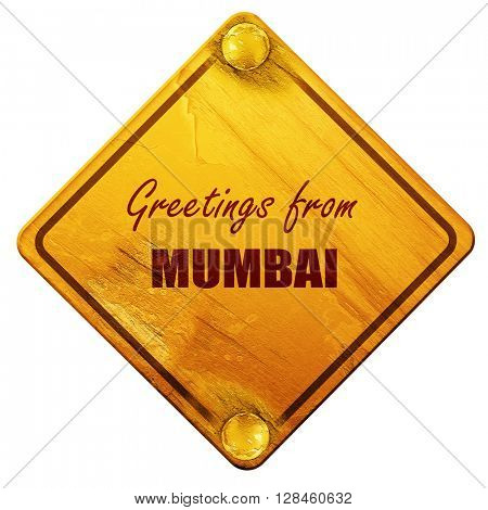 Greetings from mumbai, 3D rendering, isolated grunge yellow road