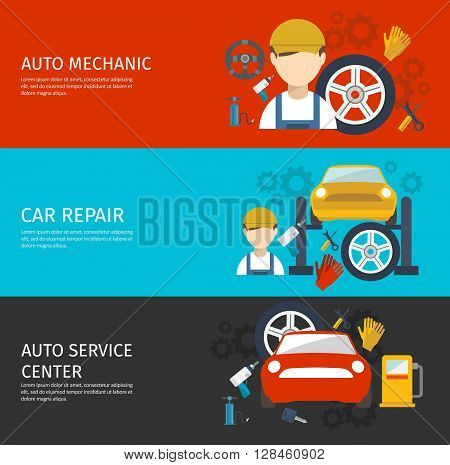 Auto mechanical service horizontal banners set with avatar of worker tools repair of car isolated vector illustration
