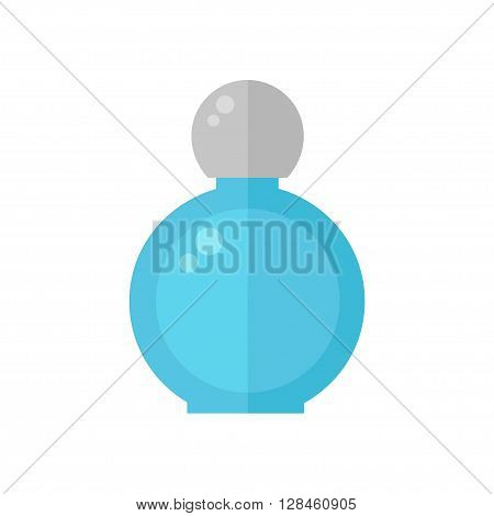 Perfume isolated icon on white background. Perfume bottle. Fragrance. Perfumery product. Flat style vector illustration.