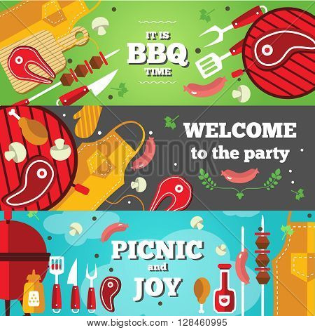 Flat horizontal banner set with BBQ facilities for party or picnic vector illustration