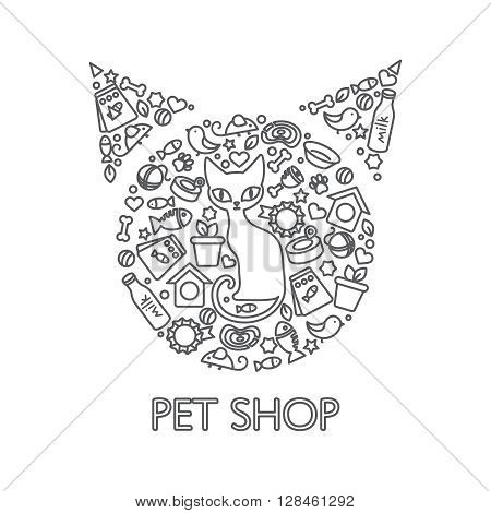 Drawn poster of cat in the middle and its interests, combined to pets head shape vector illustration