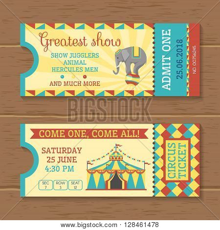 Colorful tickets for circus show on wooden background with trained elephant striped tent inscriptions isolated vector illustration