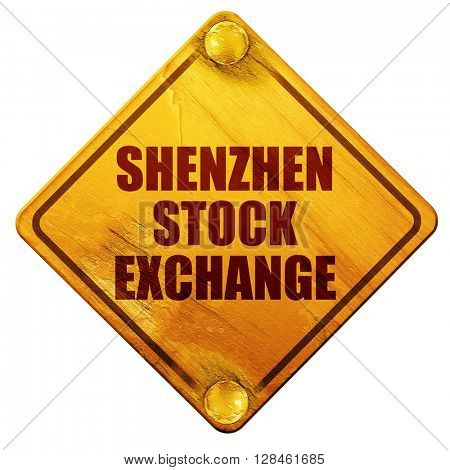 shenzhen stock exchange, 3D rendering, isolated grunge yellow ro