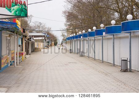 Sukko, Russia - March 15, 2016: The Main Street With A Passage To The Sea In The Offseason, In The V
