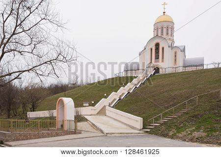 Varvarovka, Russia - March 15, 2016: Barbara The Great Martyr Church In The Village Varvarovka, A Su