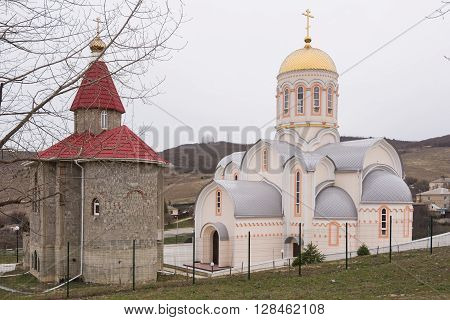 Varvarovka, Russia - March 15, 2016: New And Old Church In The Village Of Great Martyr Barbara Varva