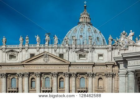 Basilica of Saint Peter in Vatican , main christianity landmark and religious center. Closeup details of basilica facade.