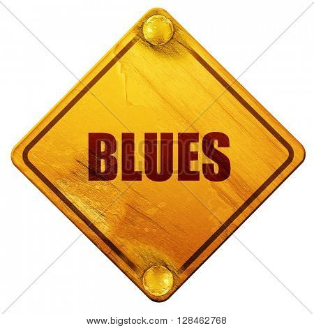 blues music, 3D rendering, isolated grunge yellow road sign