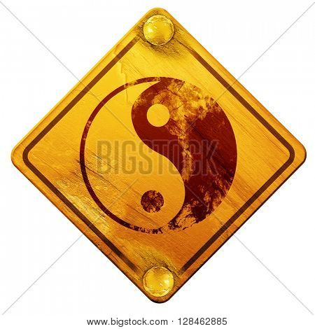Ying yang symbol, 3D rendering, isolated grunge yellow road sign