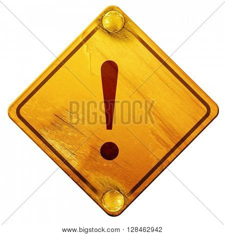 Hazard warning sign, 3D rendering, isolated grunge yellow road s
