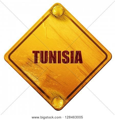 Greetings from tunisia, 3D rendering, isolated grunge yellow roa