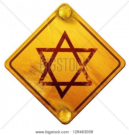 Star of david, 3D rendering, isolated grunge yellow road sign