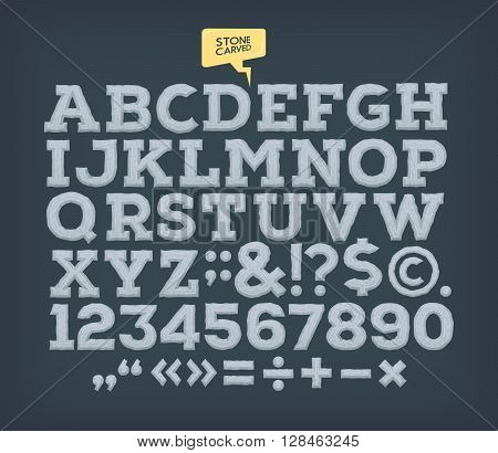 Stone made ABC. Vector vintage carved alphabet.
