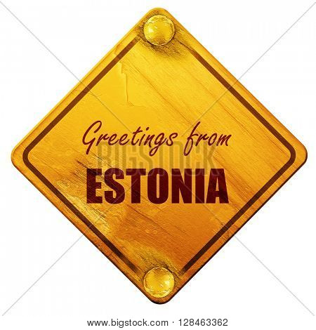 Greetings from estonia, 3D rendering, isolated grunge yellow roa