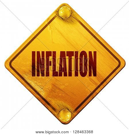 Inflation sign background, 3D rendering, isolated grunge yellow