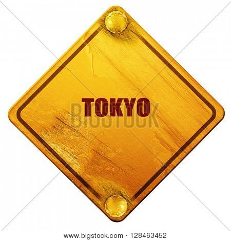 tokyo, 3D rendering, isolated grunge yellow road sign