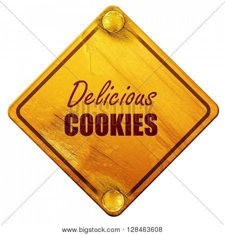 Delicious cookies sign, 3D rendering, isolated grunge yellow roa