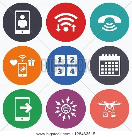 Wifi, mobile payments and drones icons. Phone icons. Smartphone video call sign. Call center support symbol. Cellphone keyboard symbol. Calendar symbol.