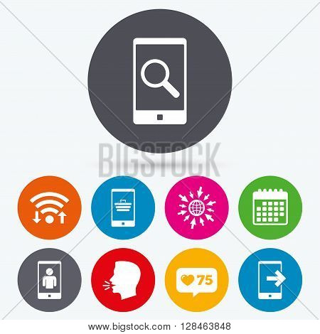 Wifi, like counter and calendar icons. Phone icons. Smartphone video call sign. Search, online shopping symbols. Outcoming call. Human talk, go to web.