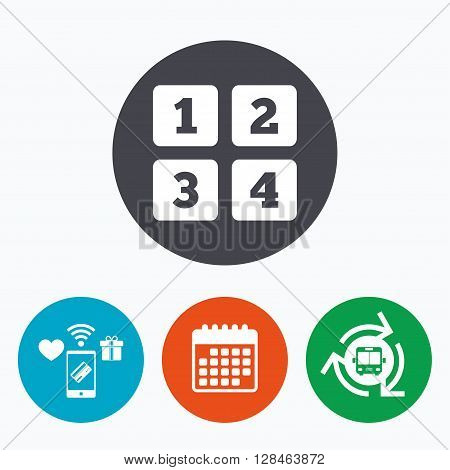 Cellphone keyboard sign icon. Digits symbol. Mobile payments, calendar and wifi icons. Bus shuttle.