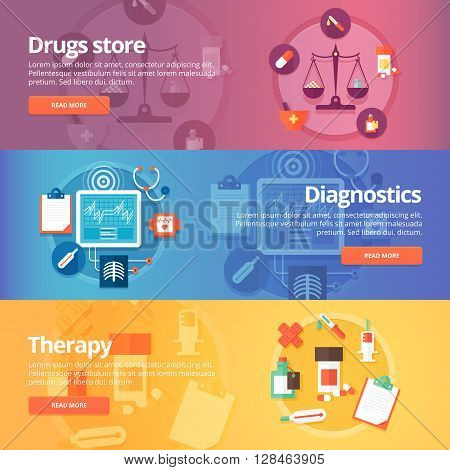 Medical and health banners set. Drug store. Pharmacy. Diagnosis. Therapy. Medicine. Pills. Modern flat vector illustrations. Horizontal banners.