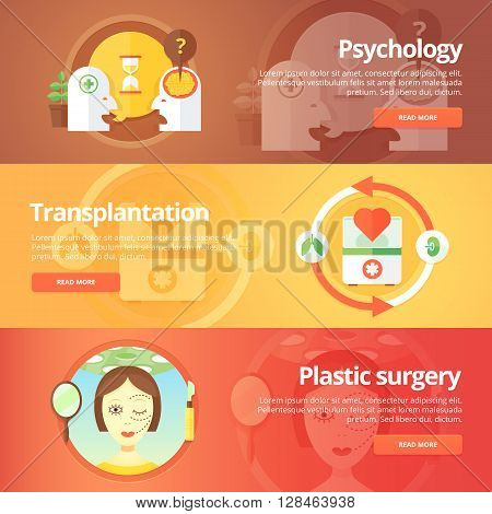 Medical and health banners set. Sexology. Transplantation. Organs donation. Anaplasty. Plastic surgery. Modern flat vector illustrations. Horizontal banners.