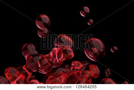 Abstract 3d rendering of chaotic liquid in empty space. Background with dynamic fluid splash. Design element.