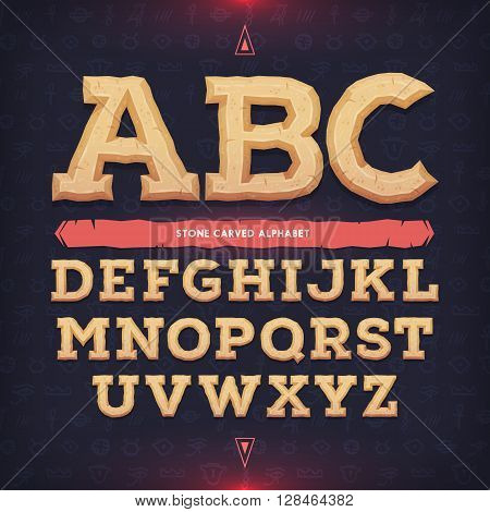 Ancient alphabet. Memorial typeface. Carved from stone abc. Vector illustration.
