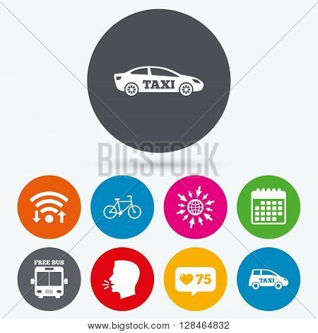 Wifi, like counter and calendar icons. Public transport icons. Free bus, bicycle and taxi signs. Car transport symbol. Human talk, go to web.