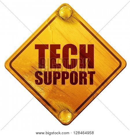 tech support, 3D rendering, isolated grunge yellow road sign