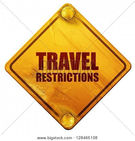 travel restrictions, 3D rendering, isolated grunge yellow road s