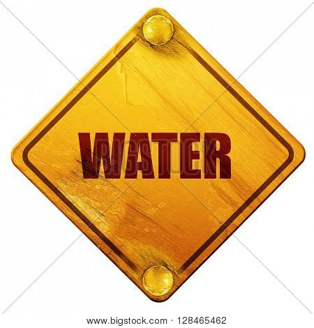 water, 3D rendering, isolated grunge yellow road sign