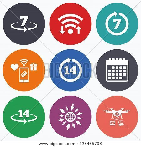 Wifi, mobile payments and drones icons. Return of goods within 7 or 14 days icons. Warranty 2 weeks exchange symbols. Calendar symbol.