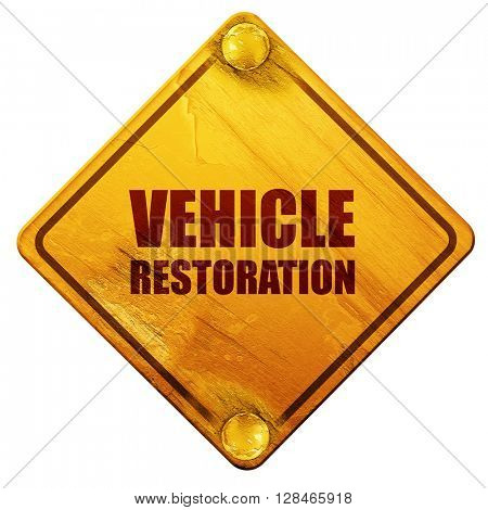 vehicle restoration, 3D rendering, isolated grunge yellow road s