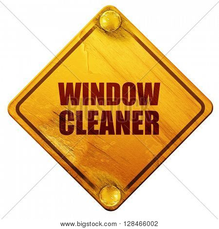 window cleaner, 3D rendering, isolated grunge yellow road sign