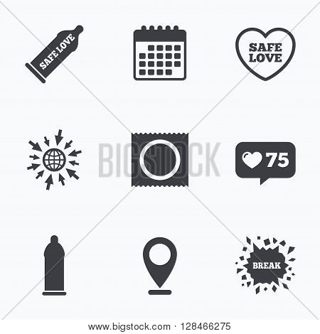 Calendar, like counter and go to web icons. Safe sex love icons. Condom in package symbol. Fertilization or insemination. Heart sign. Location pointer.