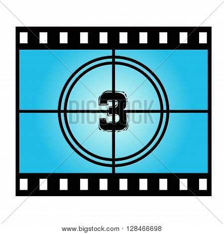 Film Screen Countdown Number Three. Vector Movie Illustration