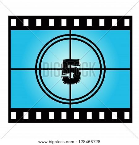 Film Screen Countdown Number Five. Vector Movie Illustration
