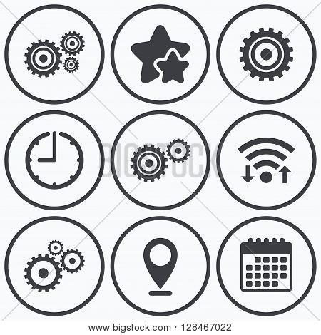 Clock, wifi and stars icons. Cogwheel gear icons. Mechanism symbol. Website or App settings sign. Working process performance. Calendar symbol.