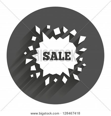 Sale icon. Cracked hole symbol. Circle flat button with shadow. Modern UI website navigation.