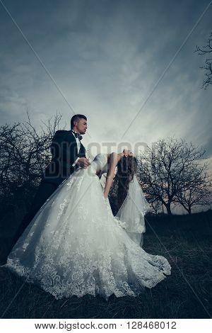 Wedding Couple In Dusk