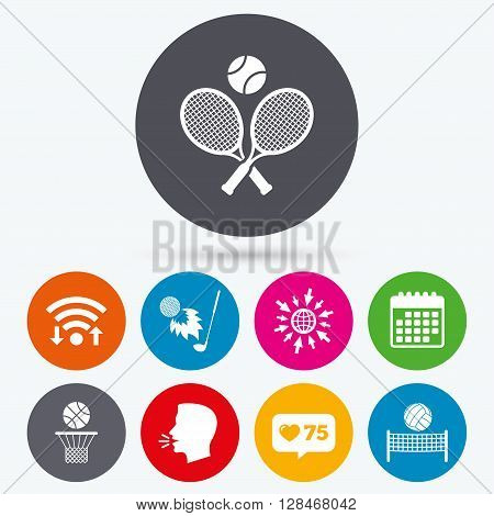 Wifi, like counter and calendar icons. Tennis rackets with ball. Basketball basket. Volleyball net with ball. Golf fireball sign. Sport icons. Human talk, go to web.