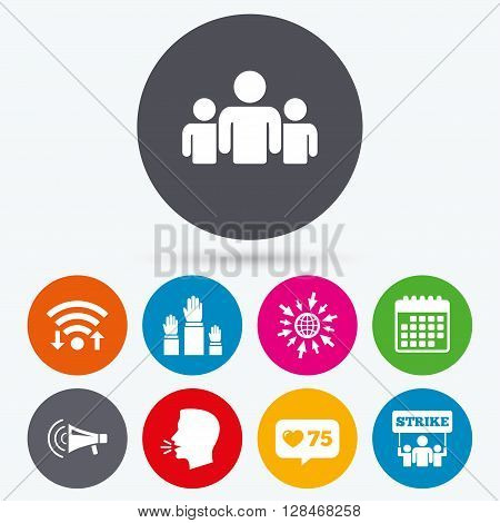 Wifi, like counter and calendar icons. Strike group of people icon. Megaphone loudspeaker sign. Election or voting symbol. Hands raised up. Human talk, go to web.